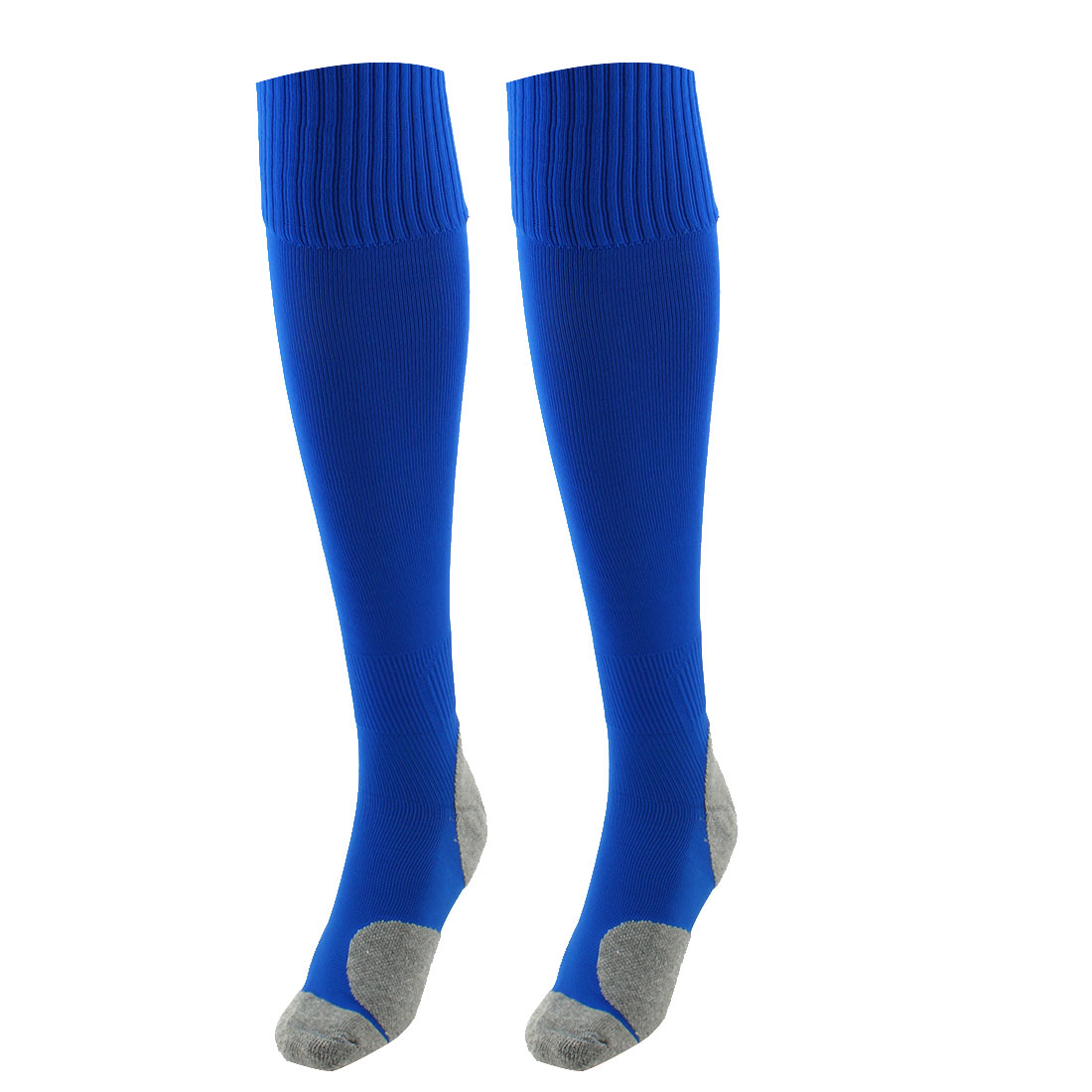 Unisex Nylon Anti Slip Breathable Elastic Volleyball Rugby Football Soccer Long Socks Blue Pair