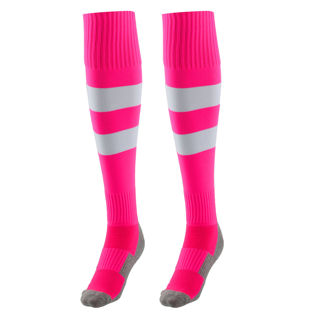 Outdoor Sports Nylon Knee High Style Stretch Baseball Soccer Football Long Socks Stockings Rose Red Pair