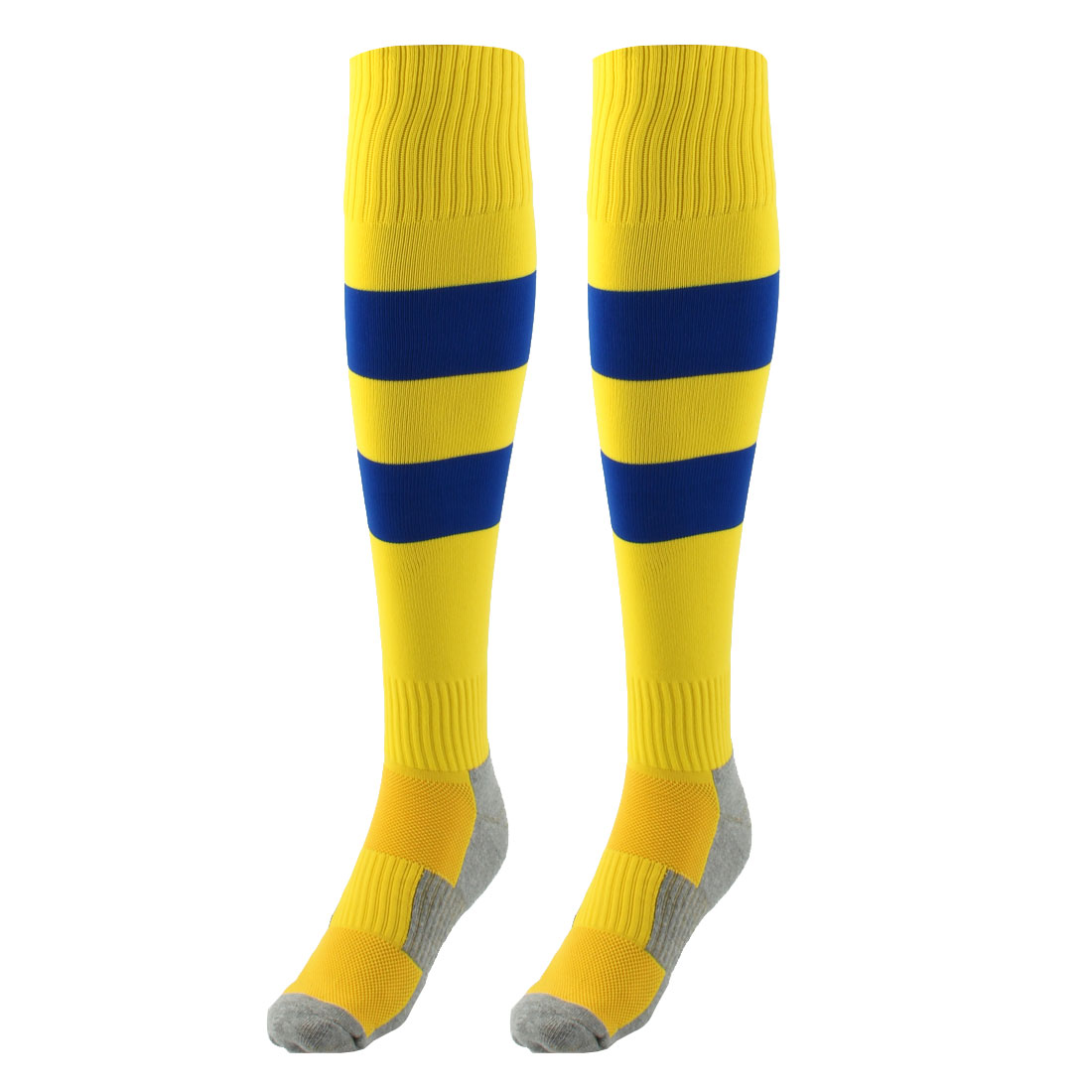 Outdoor Sports Nylon Knee High Style Stretch Baseball Soccer Football Long Socks Stockings Yellow Blue Pair