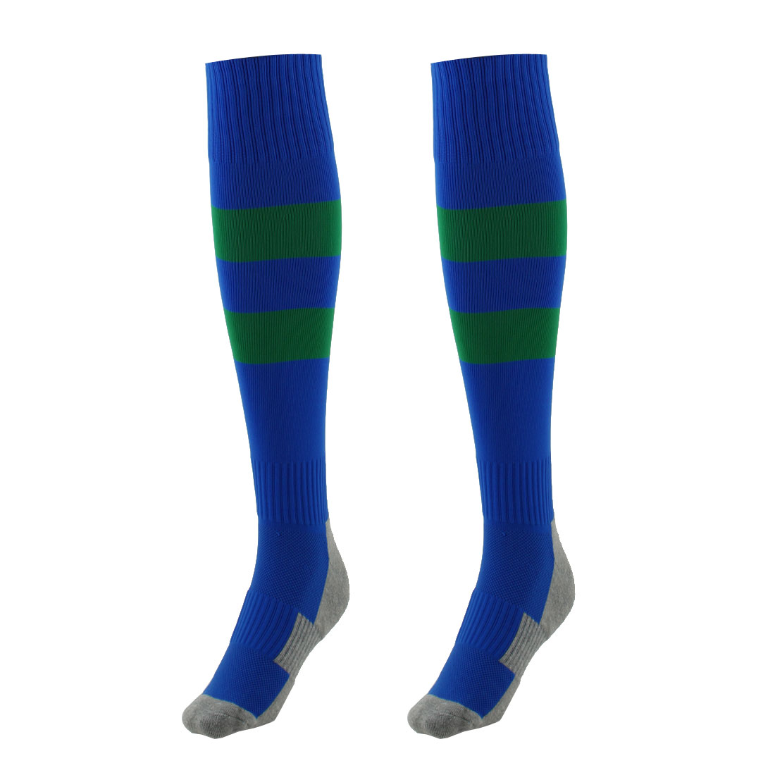 Outdoor Sports Nylon Knee High Style Stretch Baseball Soccer Football Long Socks Stockings Blue Green Pair
