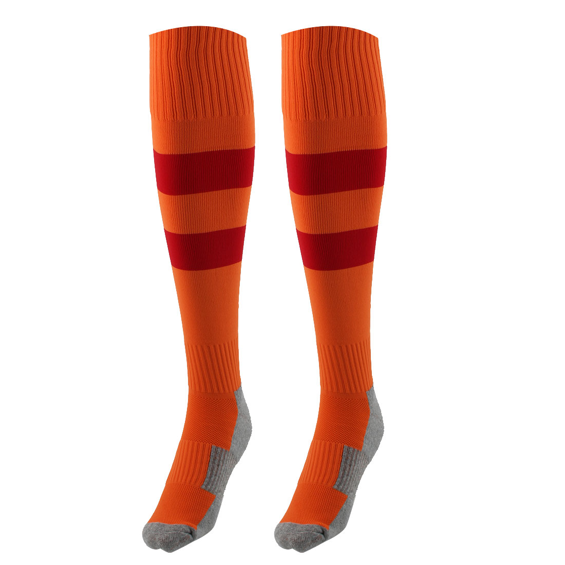 Outdoor Sports Nylon Knee High Style Stretch Baseball Soccer Football Long Socks Stockings Orange Red Pair