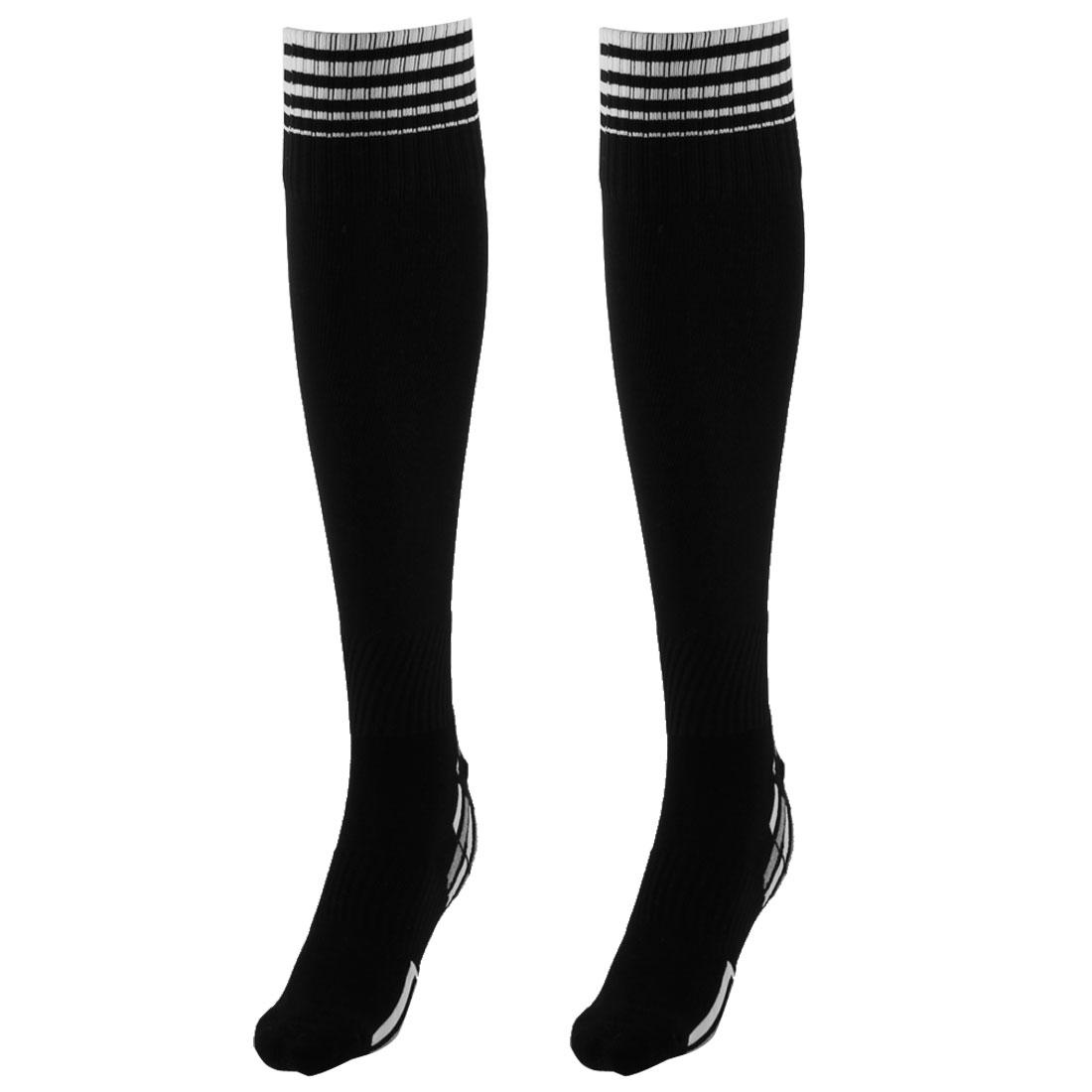 Unisex Nylon Anti Slip Stripe Pattern Elastic Football Soccer Sport Long Socks Black Pair