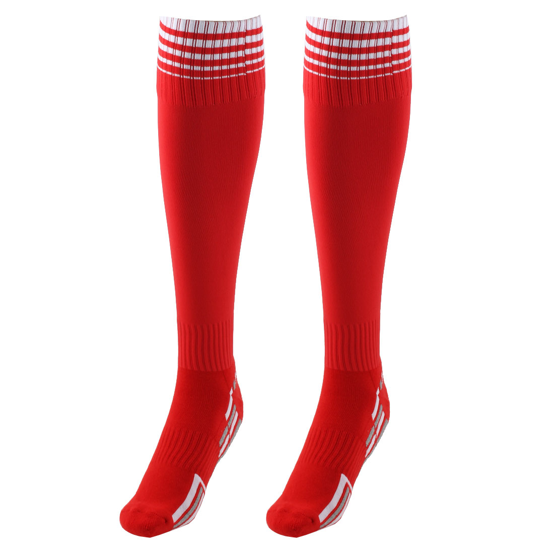 Unisex Nylon Anti Slip Stripe Pattern Elastic Football Soccer Sport Long Socks Red Pair