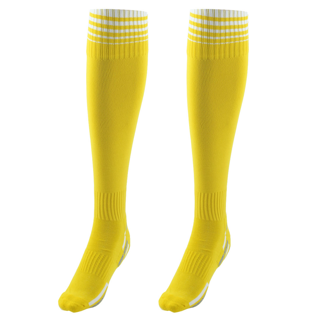 Unisex Nylon Anti Slip Stripe Pattern Elastic Football Soccer Sport Long Socks Yellow Pair