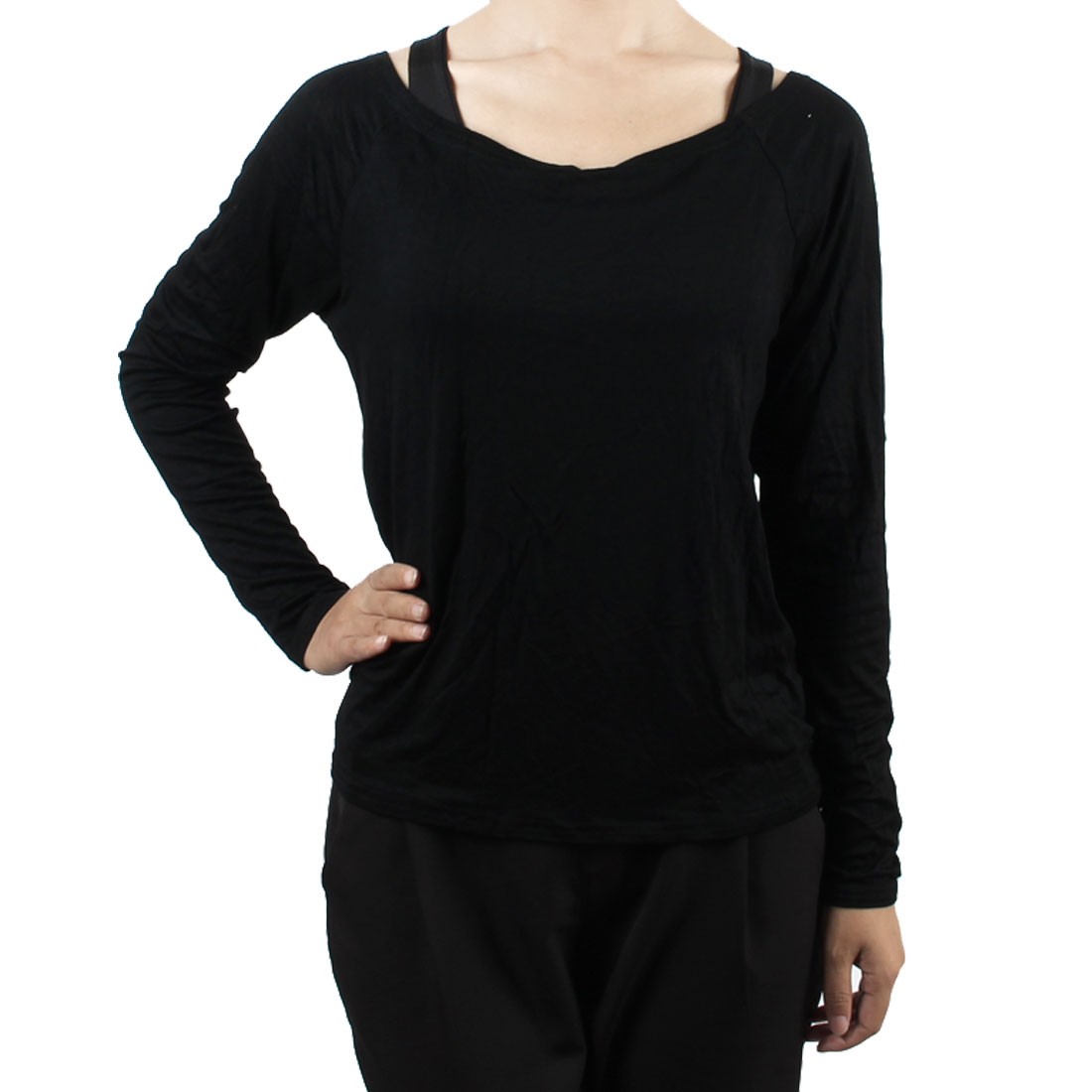 Woman Outdoor Exercse Polyester Casual Long Sleeve Blouse Top Sheer Shirt Black S (US 6)