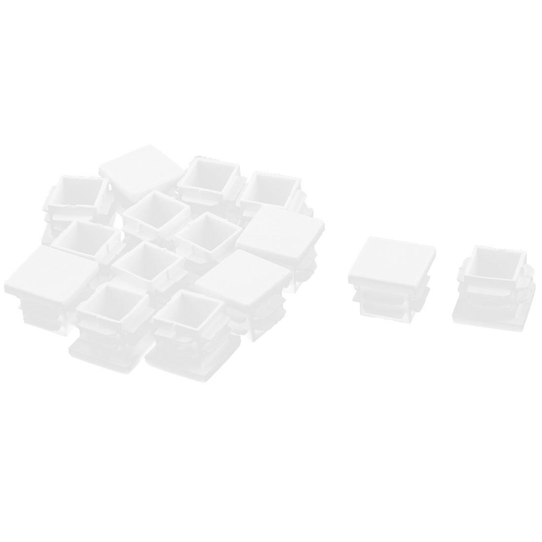 Plastic Square Furniture Foot Blanking Cap Insert White 19mm x 19mm 15pcs