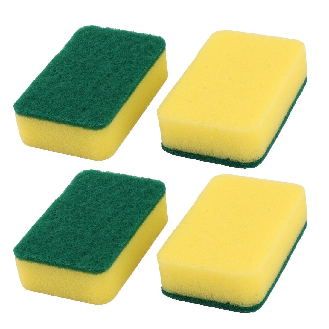 Apartment Dorm Sponge Rectangle Dish Plate Pan Stockpot Cleaning Scrubber Pad 4 Pcs