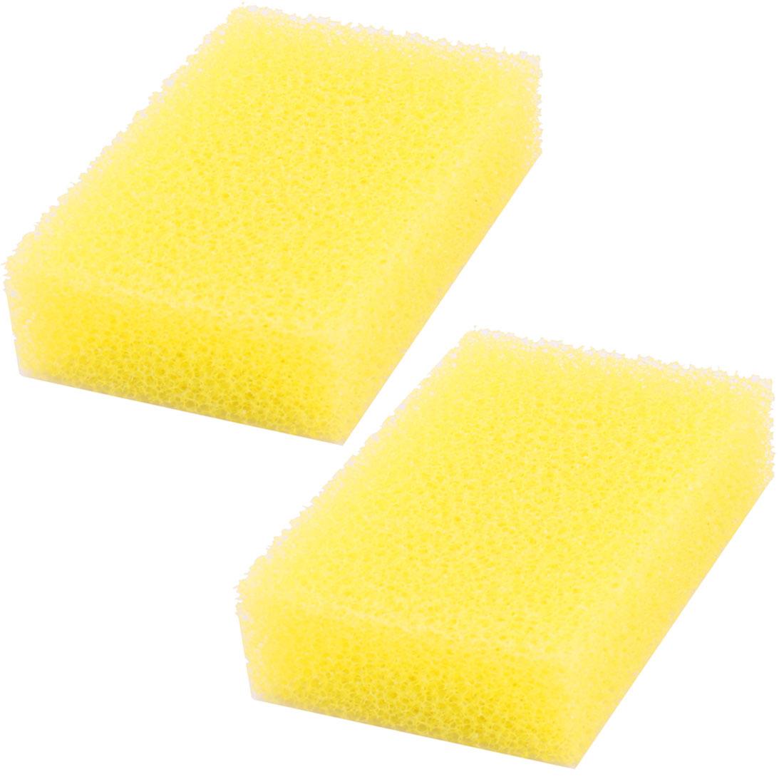 Home Kitchen Picnic Sponge Dish Bowl Plate Pan Pot Cleaning Washing Pad Yellow 2pcs