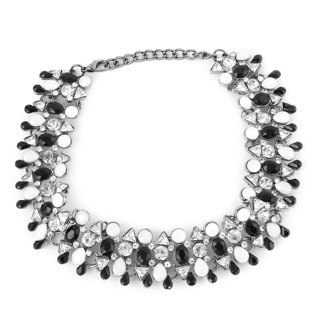 Women Metal Luxury Bib Collar Charming Choker Necklace Black White