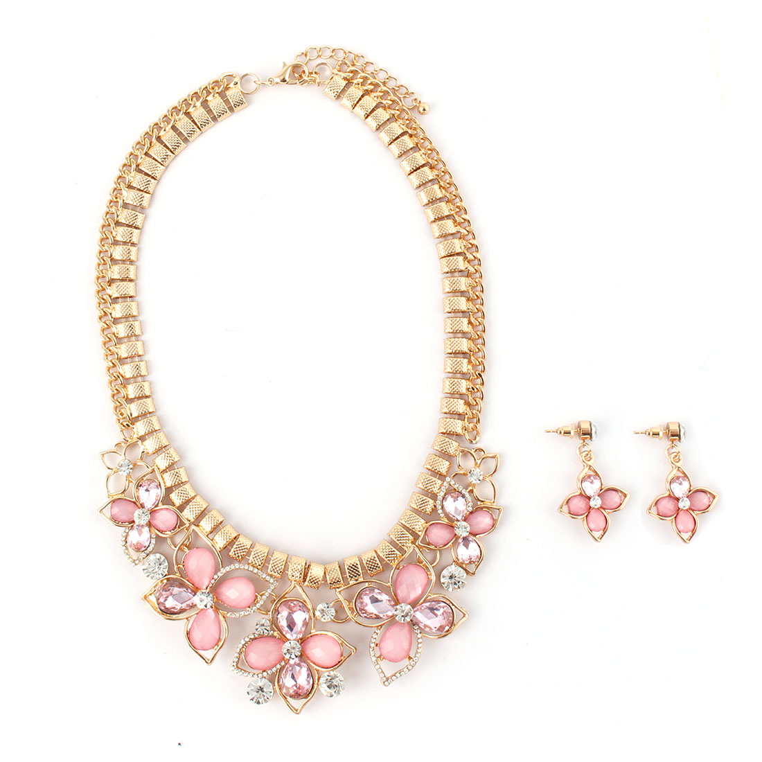 Women Metal Flower Pendant Bib Collar Charming Choker Necklace Earrings Pink Set