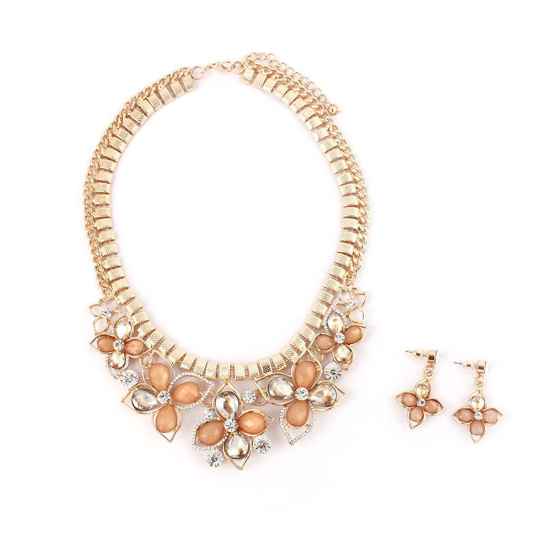Women Metal Flower Pendant Bib Collar Charming Choker Necklace Earrings Beige Set