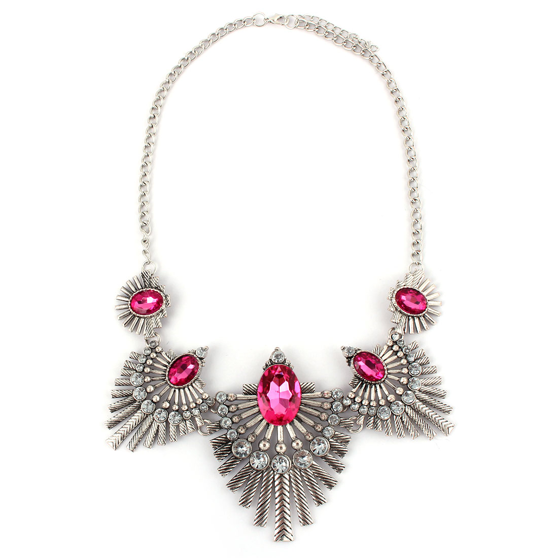 Women Metal Leaf Design Faux Rhinestone Inlaid Pendant Bib Collar Charming Choker Necklace Purple Silver Tone