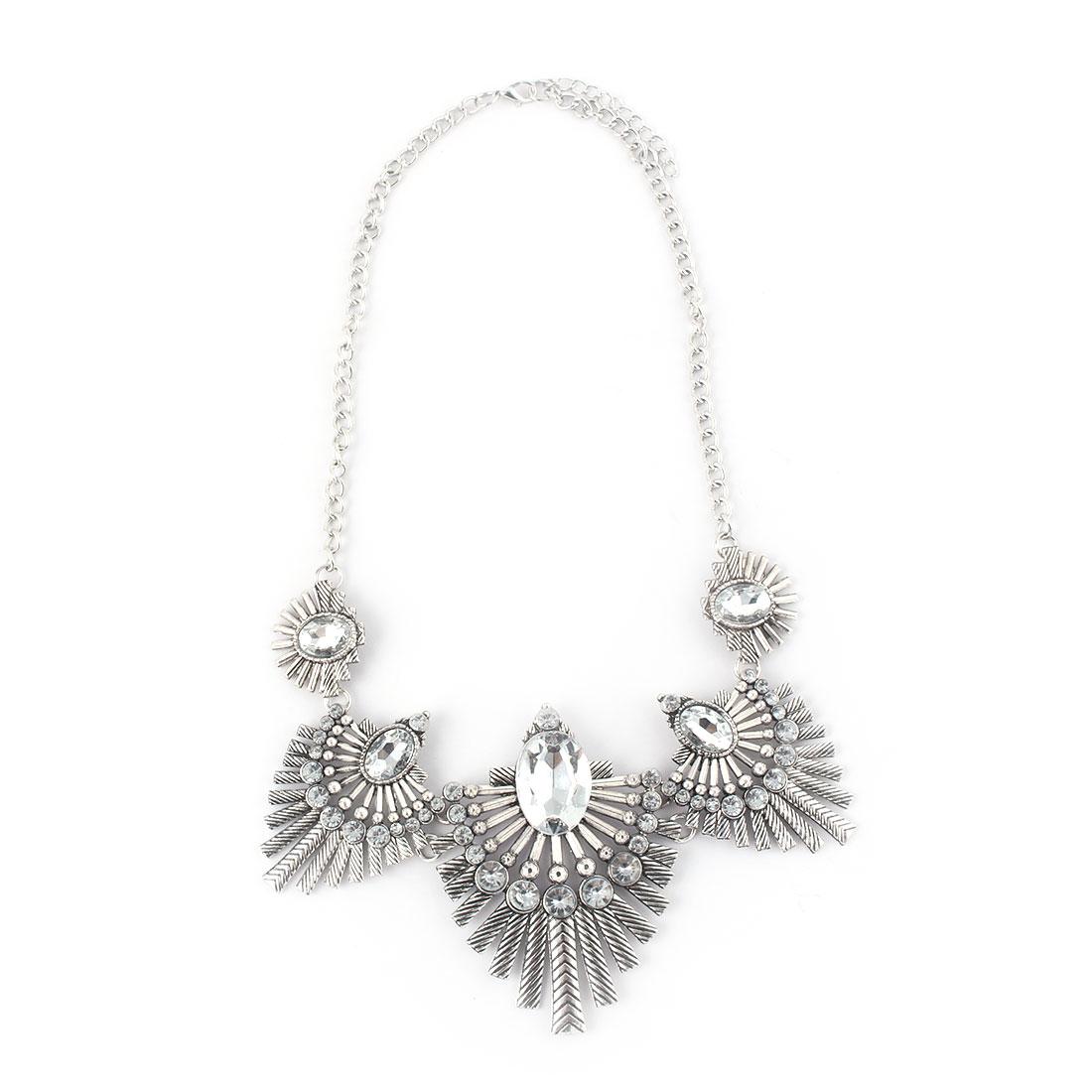 Women Metal Leaf Design Faux Rhinestone Inlaid Pendant Bib Collar Charming Choker Necklace White Silver Tone