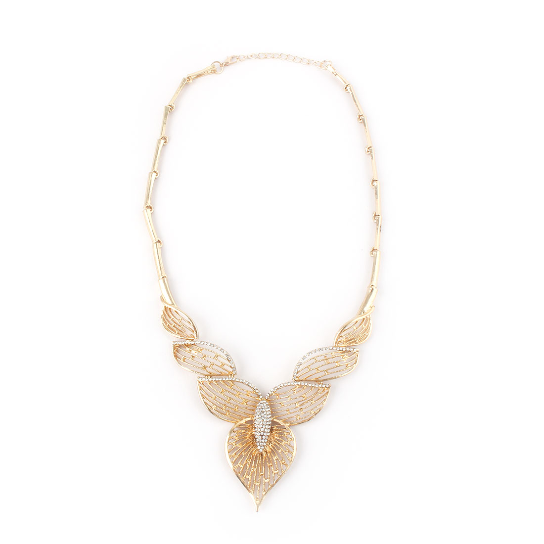 Women Metal Hollow Out Leaf Design Bib Collar Charming Choker Necklace Gold Tone