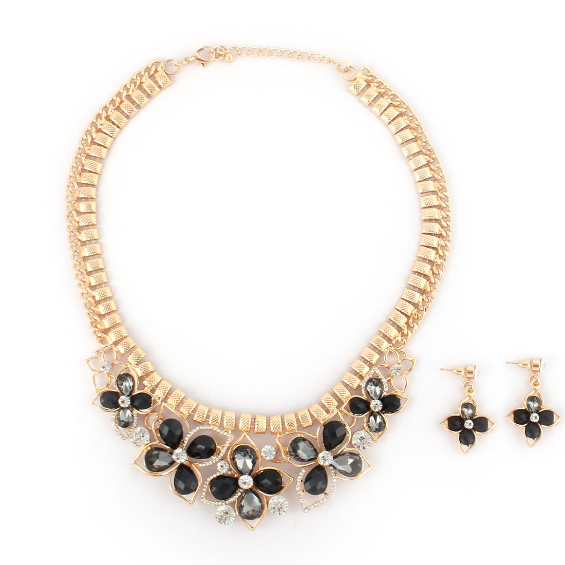Women Metal Flower Pendant Bib Collar Charming Choker Necklace Earrings Black Set