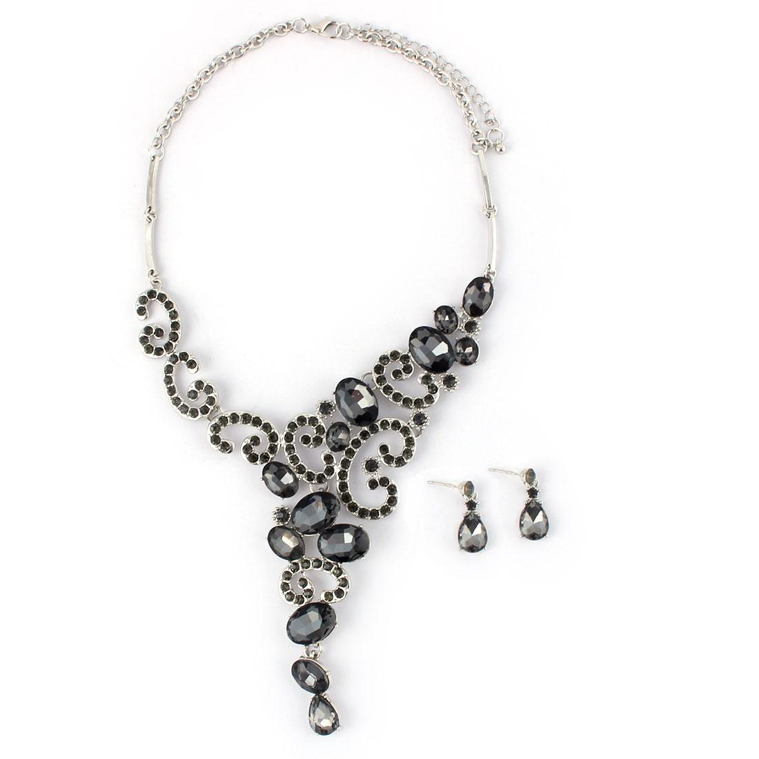 Women Metal Faux Rhinestone Inlaid Pendant Bib Collar Charming Necklace Earrings Black Set