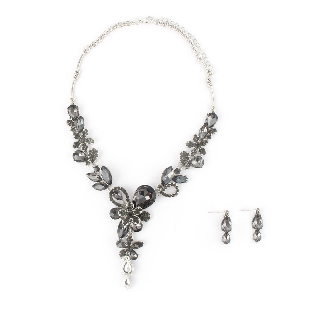 Women Metal Flower Decor Pendant Bib Collar Charming Choker Necklace Earrings Black Set