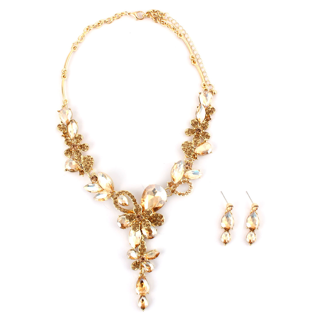 Women Metal Flower Decor Pendant Bib Collar Charming Choker Necklace Earrings Gold Tone Set