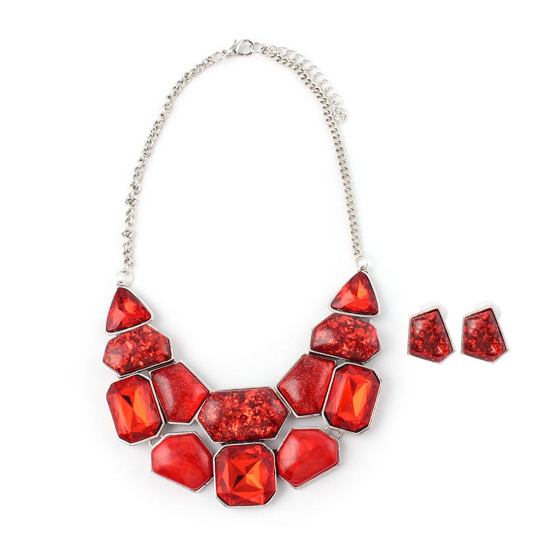Women Metal Geometric Pattern Pendant Bib Collar Charming Choker Necklace Earrings Red Set