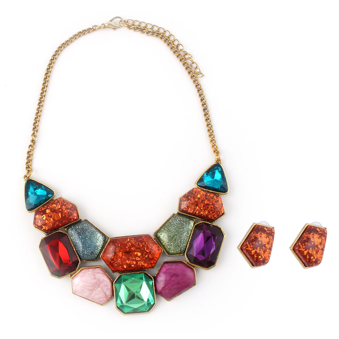 Women Metal Geometric Pattern Pendant Bib Collar Charming Choker Necklace Earrings Multicolor Set