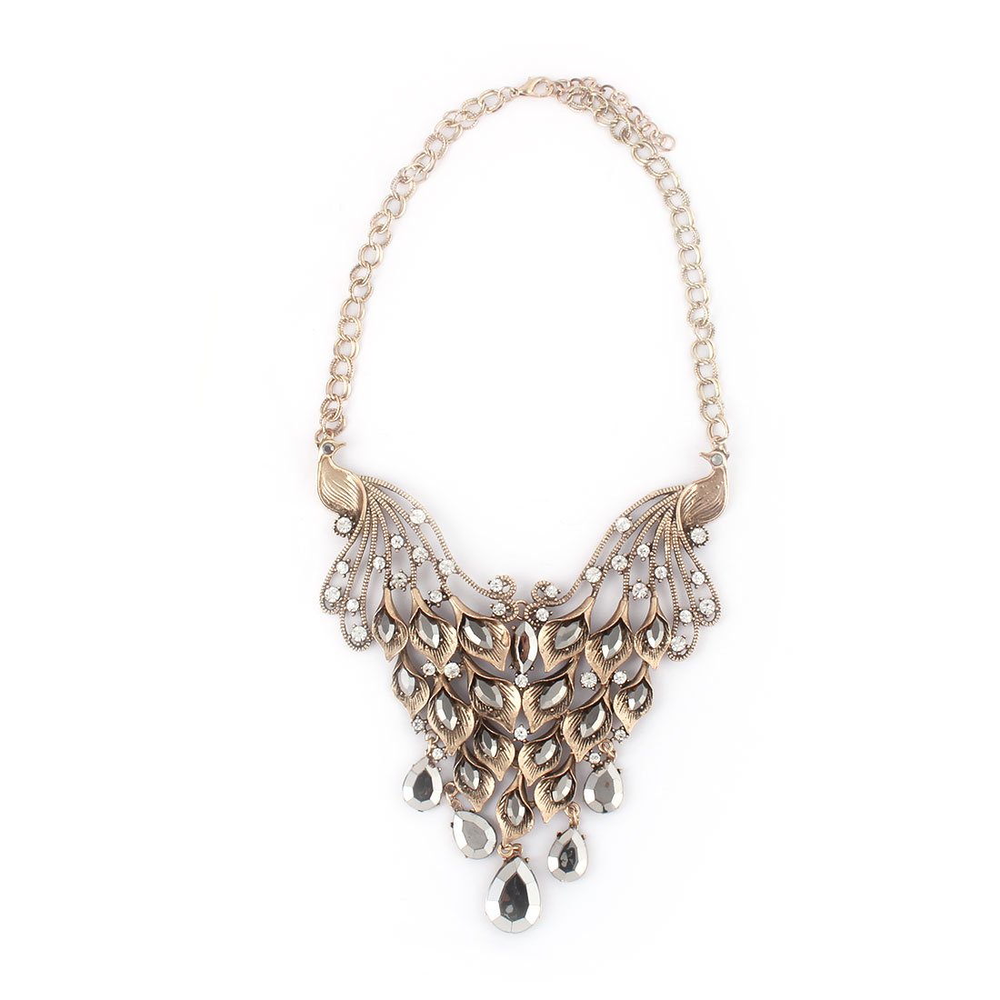 Women Metal Double Peacock Design Pendant Bib Collar Choker Necklace Bronze Tone