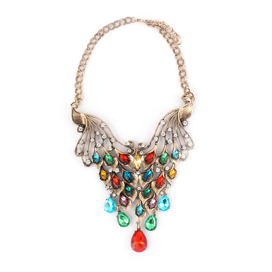 Women Metal Double Peacock Design Pendant Bib Collar Choker Necklace Multicolor