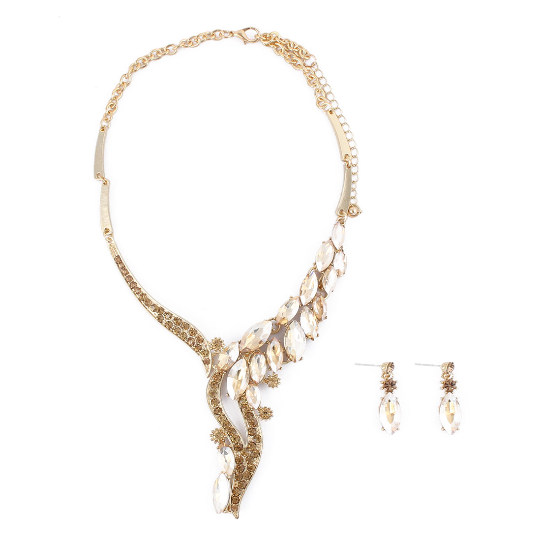 Ladies Metal Faux Rhinestone Inlaid Pendant Bib Collar Charming Necklace Earrings Gold Tone Set