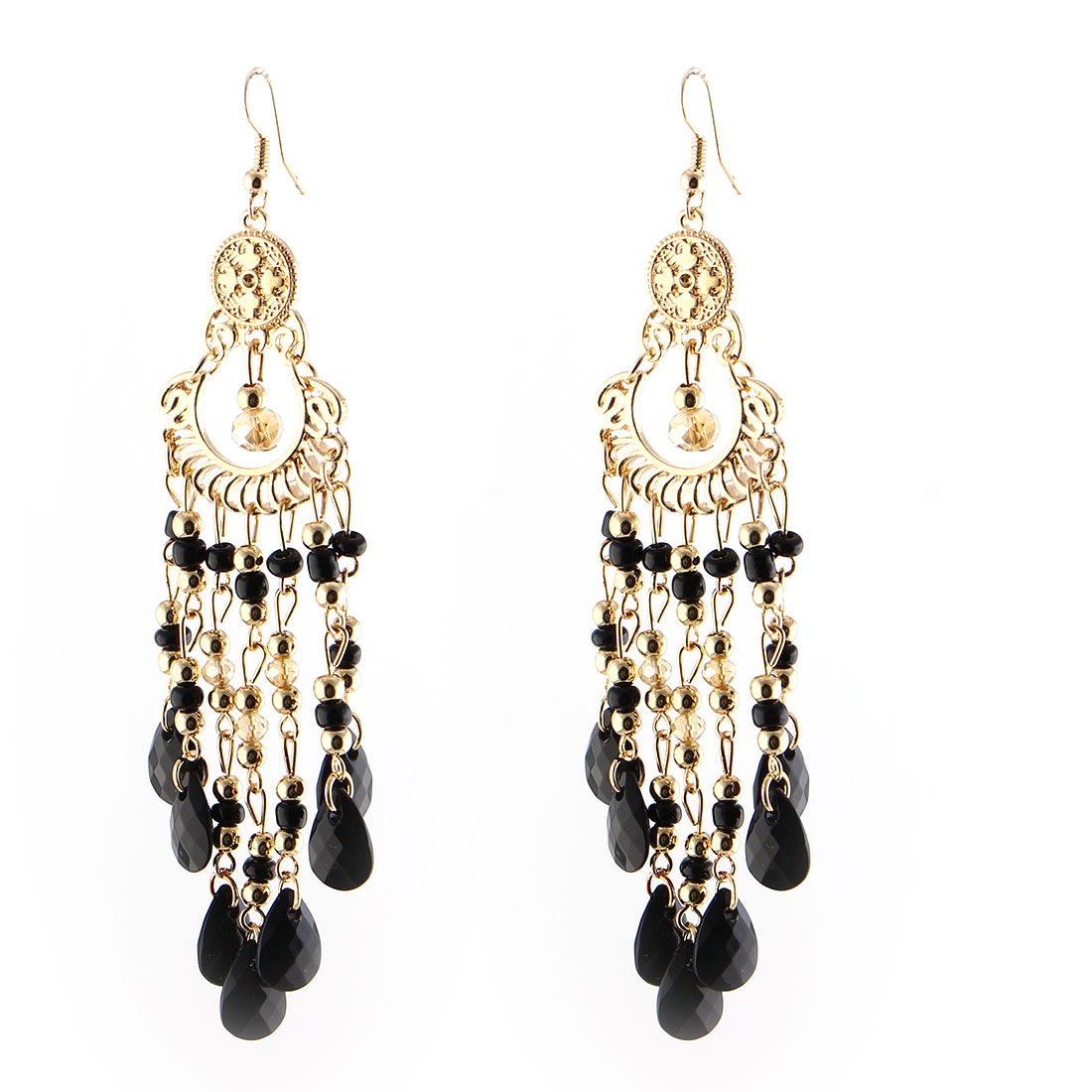 Women Ladies Fish Hook Beads Decor Dangling Pendant Earrings Black Pair