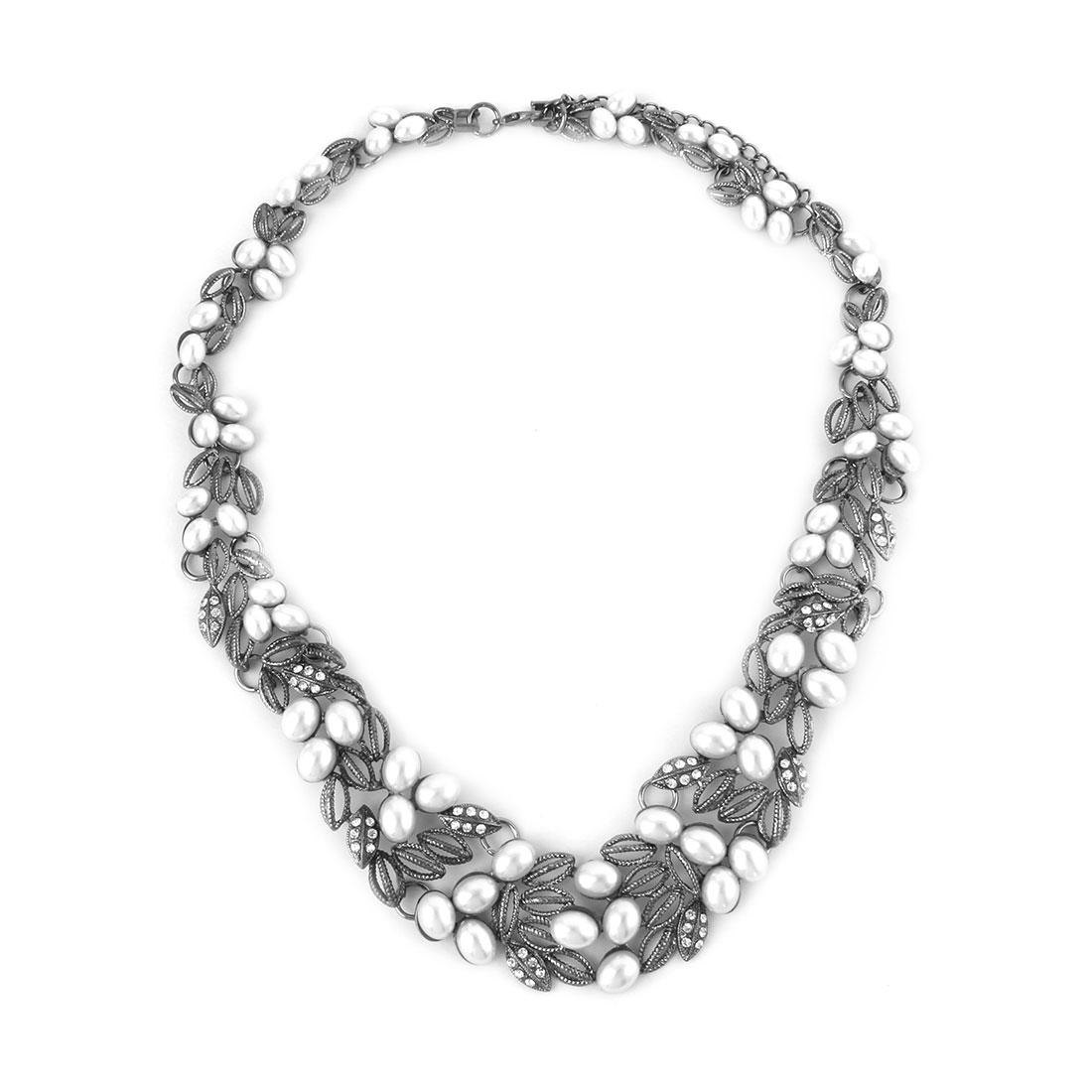 Women Metal Leaf Shape Imitation Pearl Pendant Bib Collar Charming Choker Necklace Dark Gray