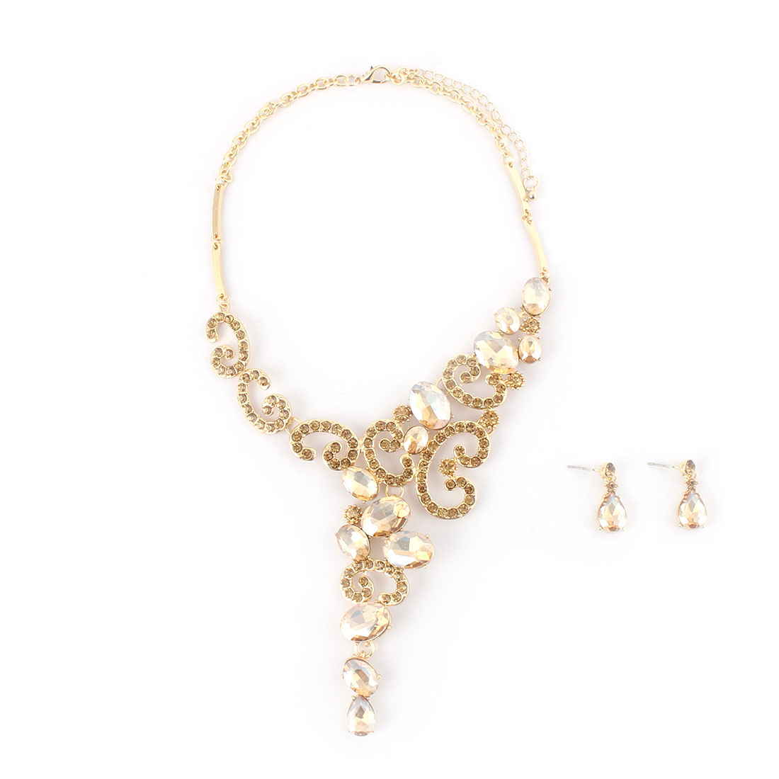 Women Metal Faux Rhinestone Inlaid Pendant Bib Collar Charming Necklace Earrings Gold Tone Set