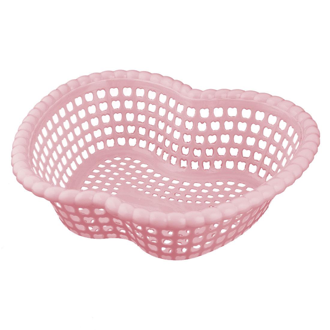 Family Plastic Apple Shaped Fruit Vegetable Holder Washing Basket Strainer Pink