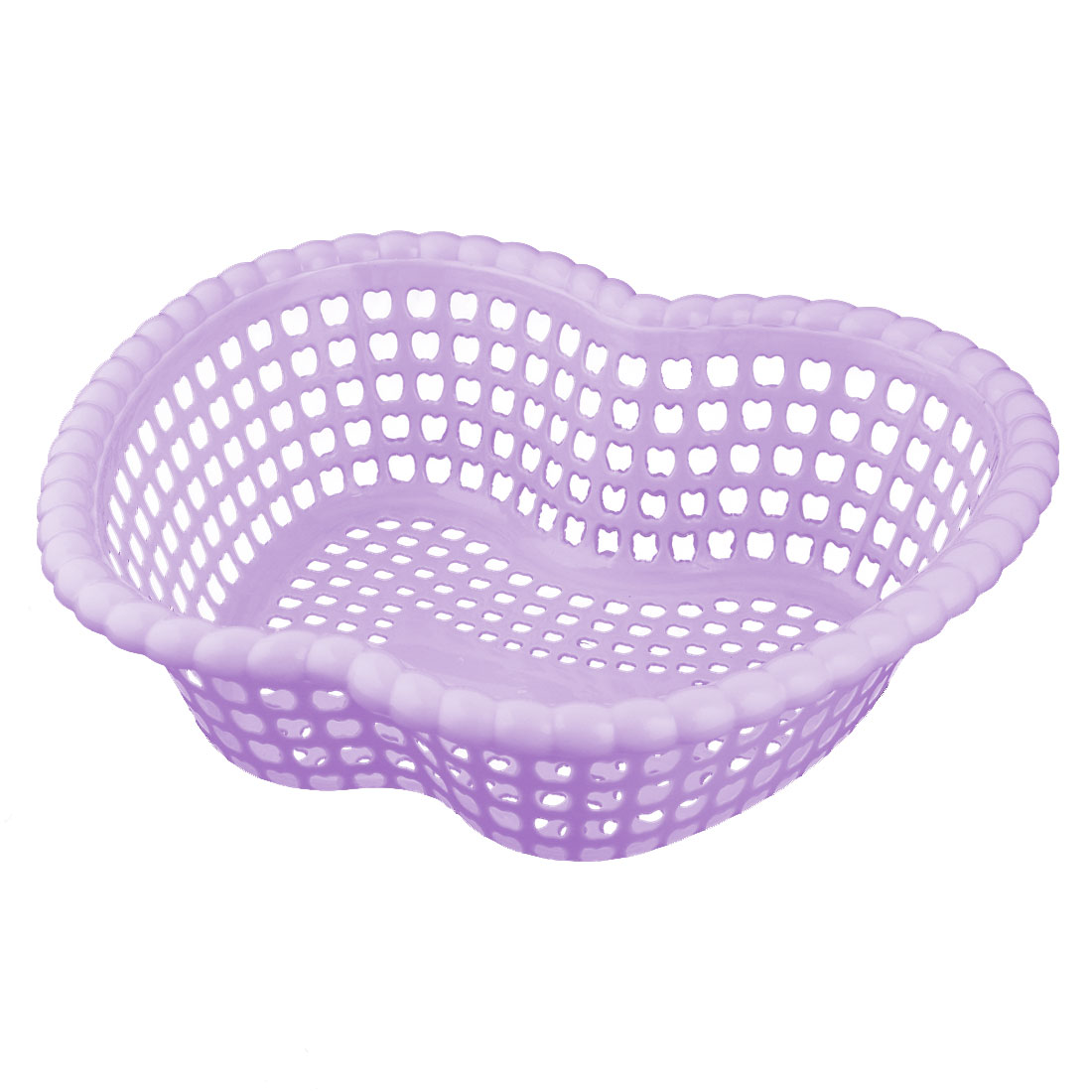 Family Plastic Apple Shaped Fruit Vegetable Holder Washing Basket Strainer Purple