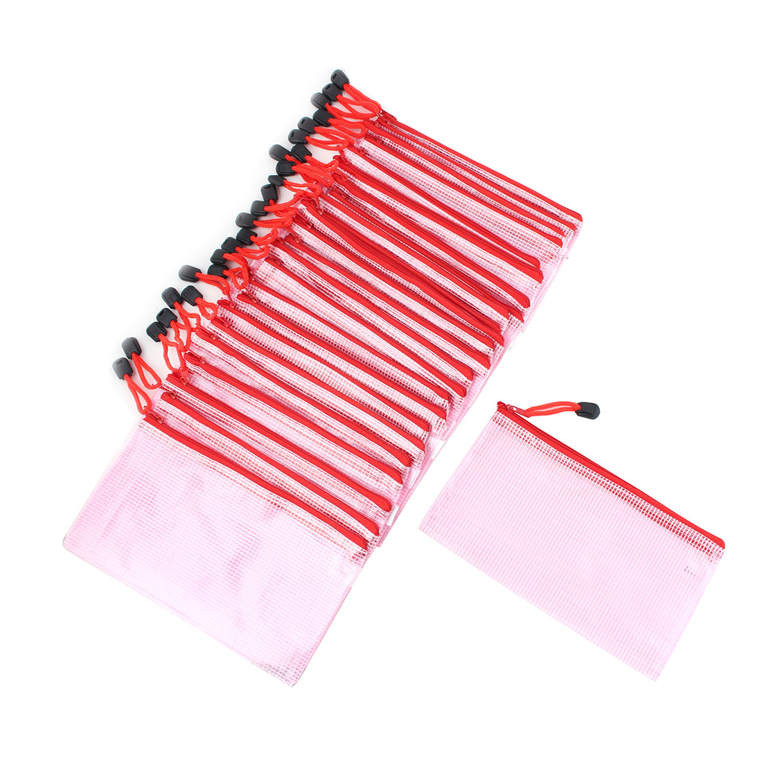 Women Plastic Water Resistant Zipper Closure Makeup Organizer Cosmetic Bag Pink 25pcs
