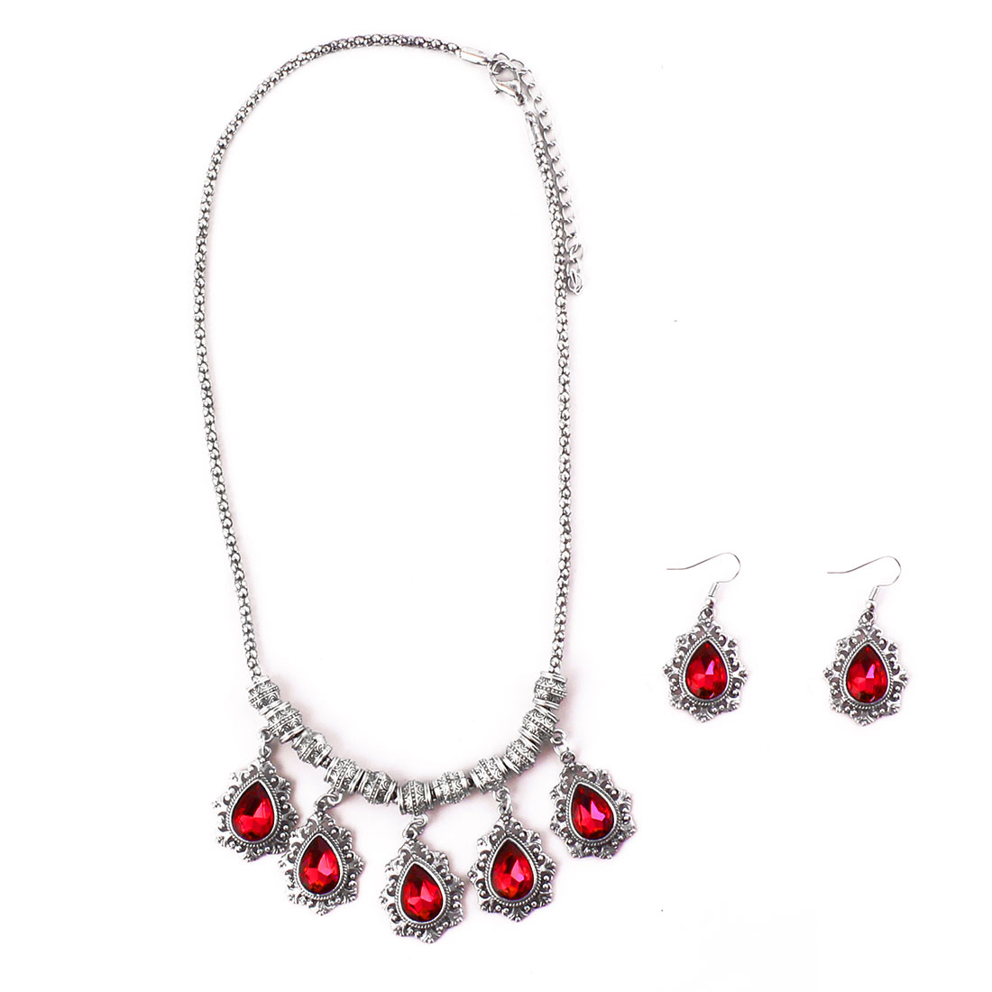 Women Metal Retro Style Pendant Bib Collar Charming Choker Necklace Earrings Red Set