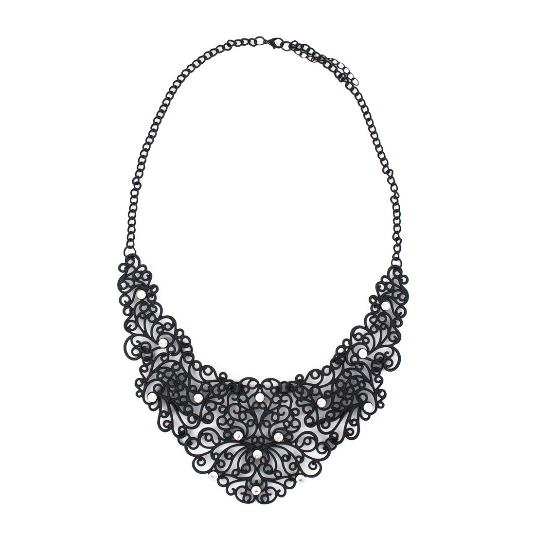 Women Metal Hollow Out Design Pendant Bib Collar Charming Choker Necklace Black