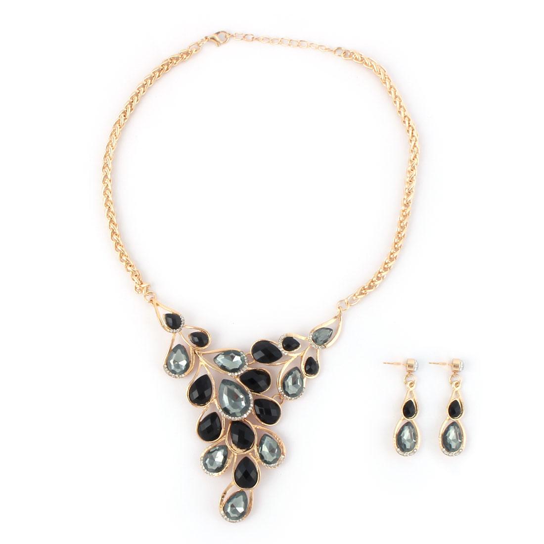 Women Metal Leaf Design Pendant Bib Collar Charming Choker Necklace Earrings Black Set
