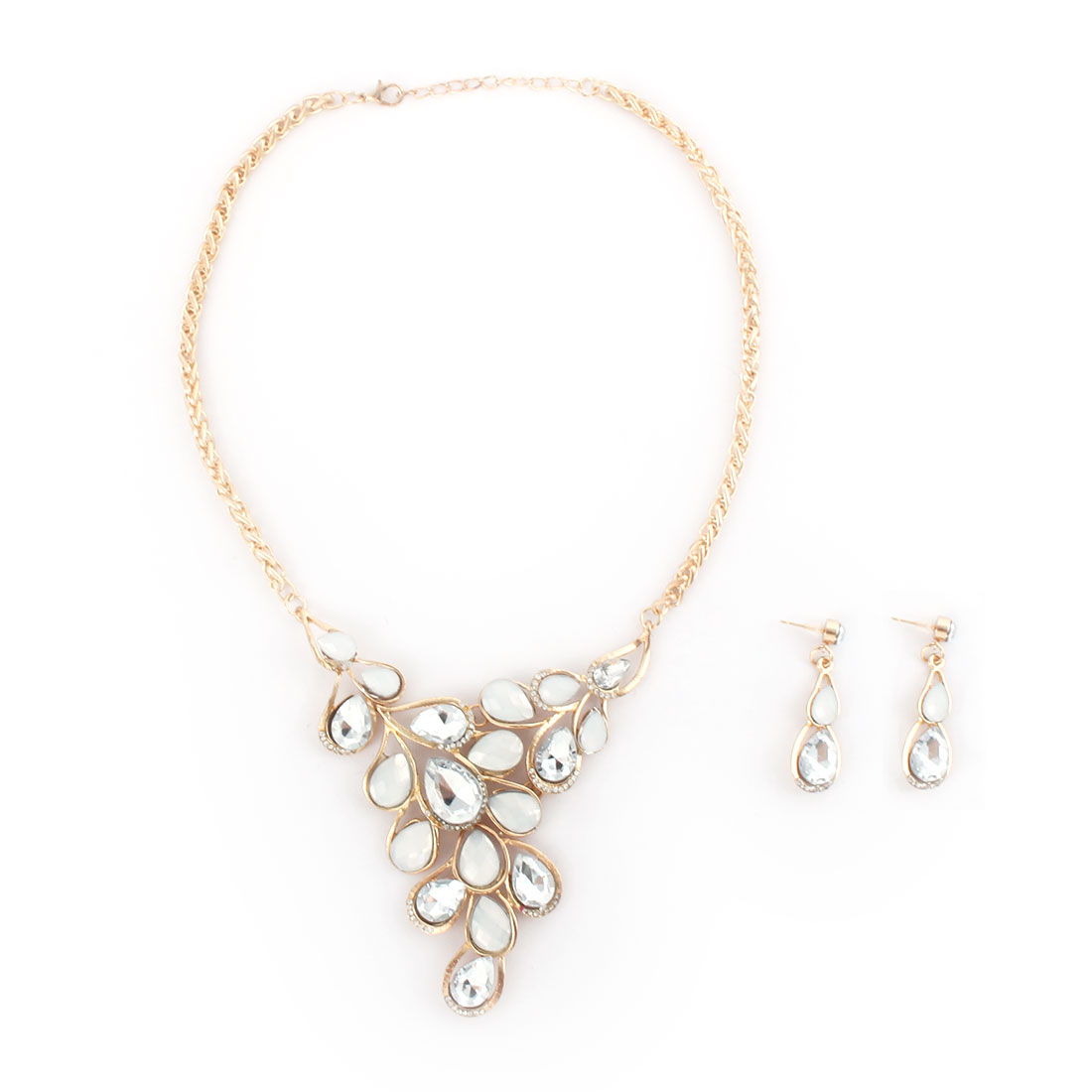 Women Metal Leaf Design Pendant Bib Collar Charming Choker Necklace Earrings White Set