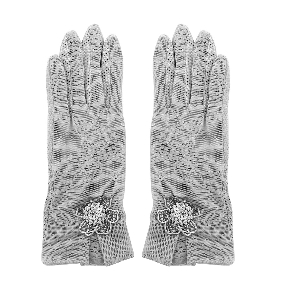 Outdoor Travel Hiking Floral Lace Decor Wrist Length Full Finger Sun Resistant Gloves Gray Pair for Women