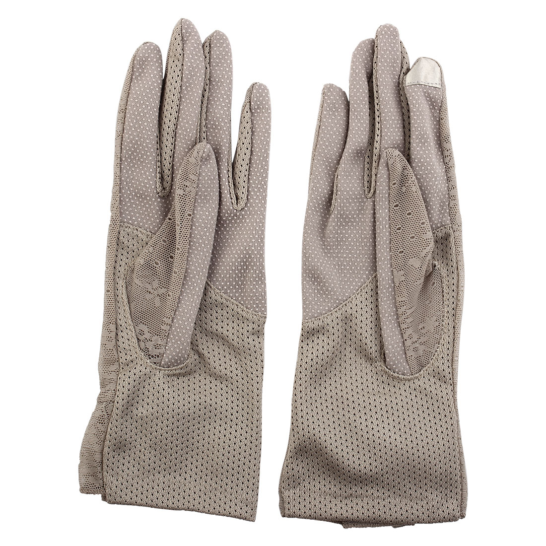 Outdoor Travel Hiking Floral Lace Decor Wrist Length Full Finger Sun Resistant Gloves Khaki Pair for Women