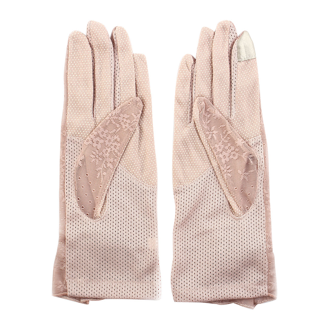 Outdoor Travel Hiking Floral Lace Decor Wrist Length Full Finger Sun Resistant Gloves Pink Pair for Women