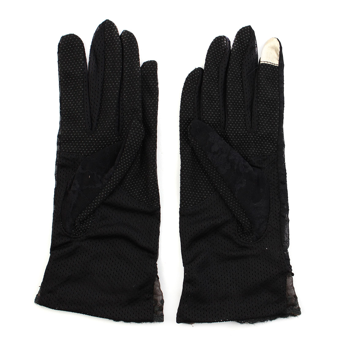 Outdoor Travel Driving Flower Lace Decor Wrist Length Full Finger Sun Resistant Gloves Black Pair for Women