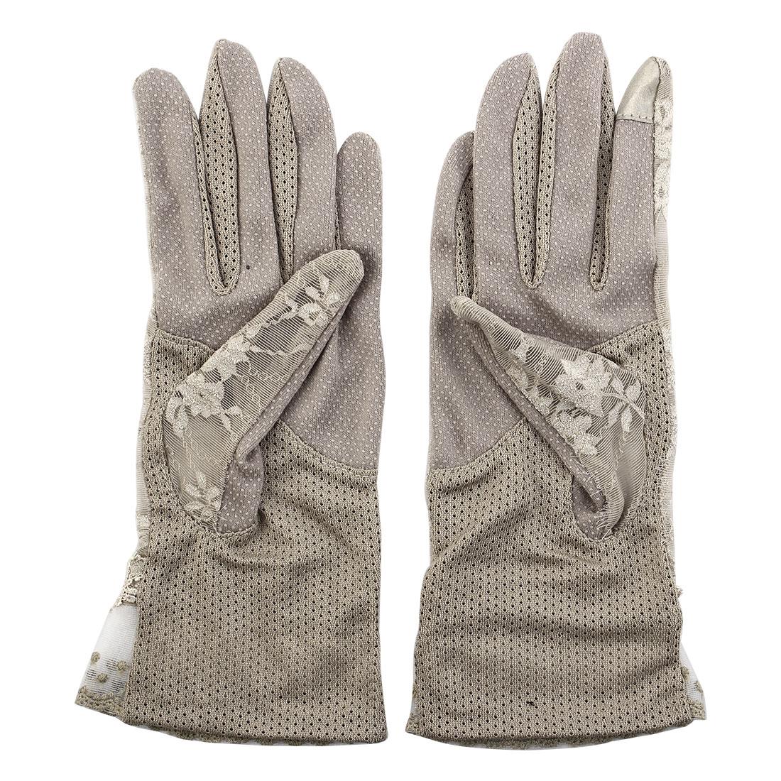 Outdoor Travel Driving Flower Lace Decor Wrist Length Full Finger Sun Resistant Gloves Khaki Pair for Women