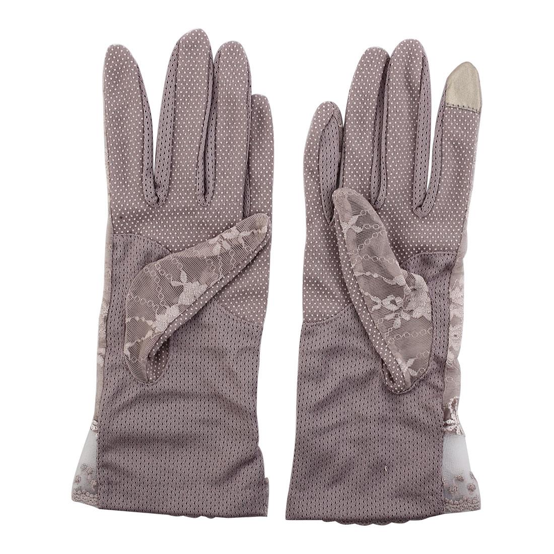Outdoor Travel Driving Flower Lace Decor Wrist Length Full Finger Sun Resistant Gloves Purple Pair for Women