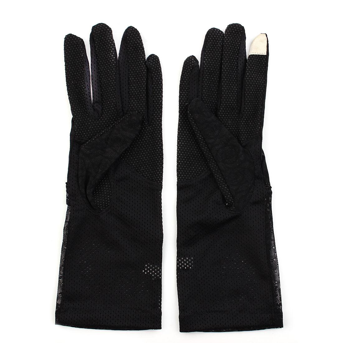 Outdoor Travel Driving Flower Lace Decor Full Finger Non-slip Sun Resistant Gloves Black Pair for Women