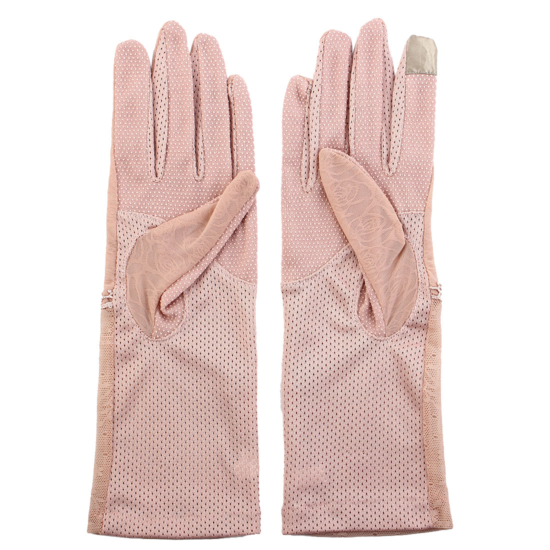 Outdoor Travel Driving Flower Lace Decor Full Finger Non-slip Sun Resistant Gloves Pink Pair for Women