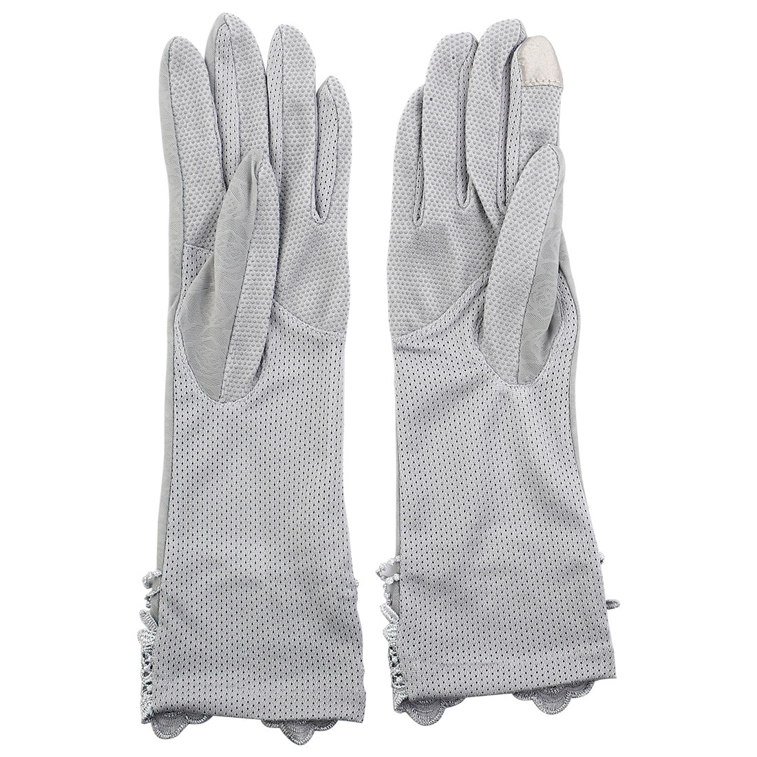 Outdoor Travel Driving Flower Butterfly Decor Full Finger Non-slip Sun Resistant Gloves Gray Pair for Women
