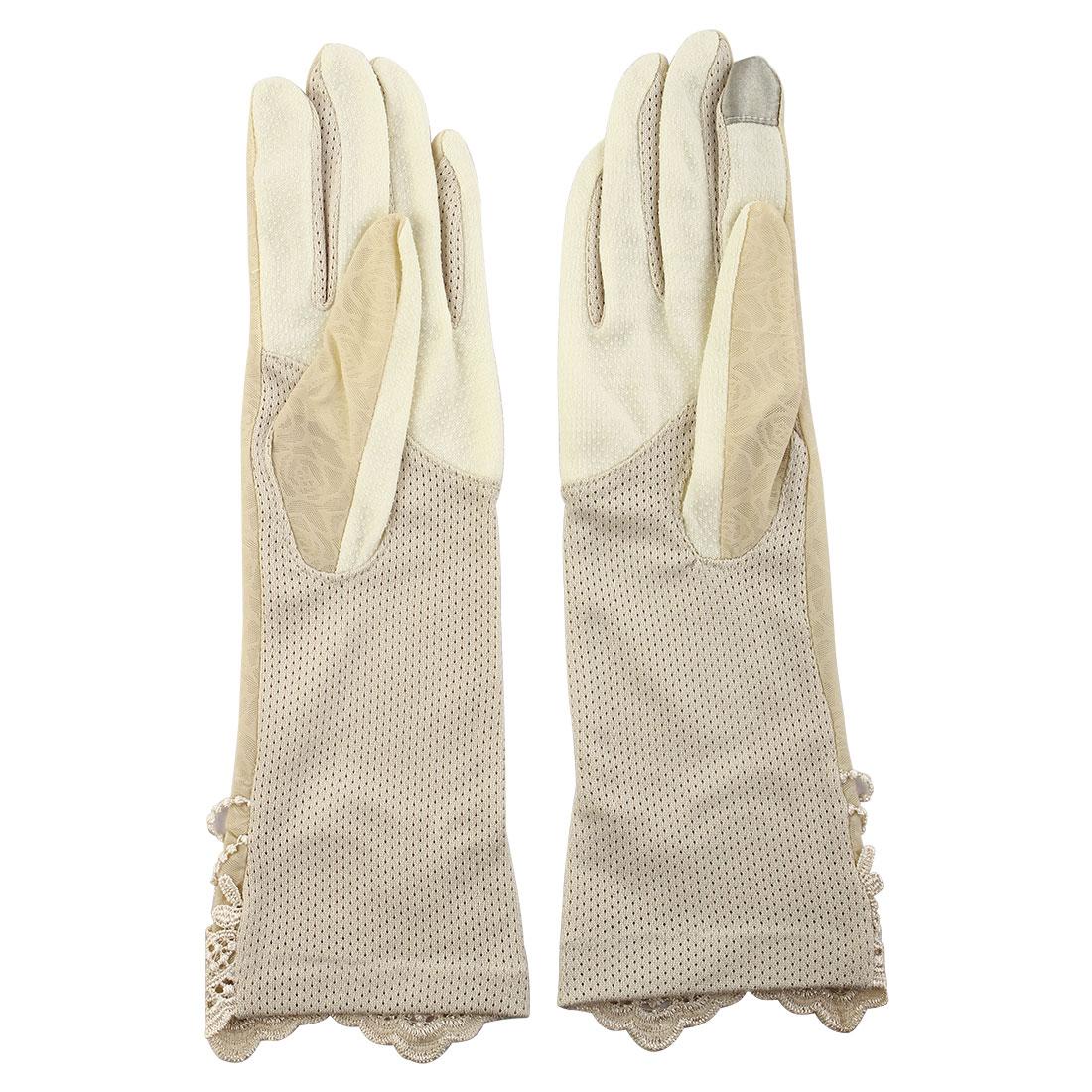 Outdoor Travel Driving Flower Butterfly Decor Full Finger Non-slip Sun Resistant Gloves Beige Pair for Women