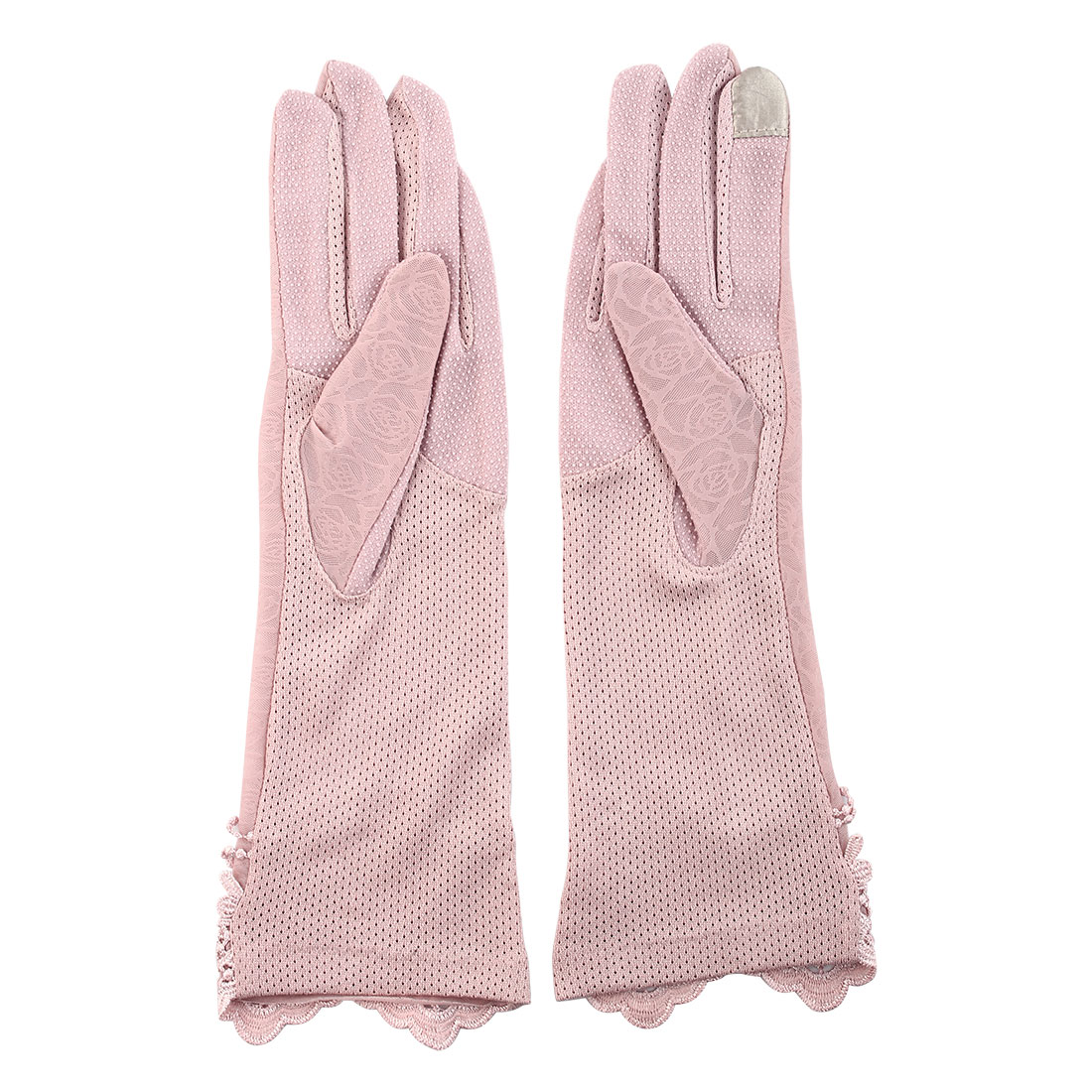 Outdoor Travel Driving Flower Butterfly Decor Full Finger Non-slip Sun Resistant Gloves Pink Pair for Women
