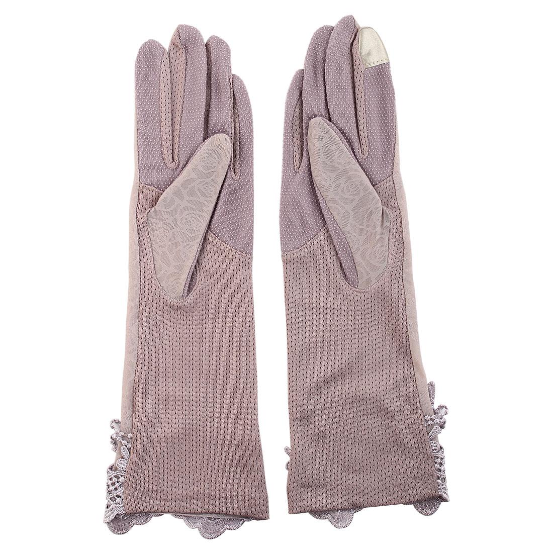 Outdoor Travel Driving Flower Butterfly Decor Full Finger Non-slip Sun Resistant Gloves Purple Pair for Women