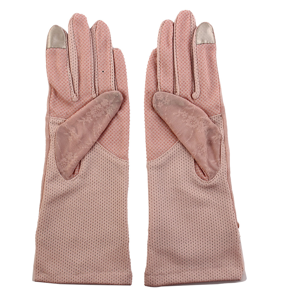 Outdoor Travel Driving Flower Bowknot Decor Full Finger Non-slip Sun Resistant Gloves Pink Pair for Women